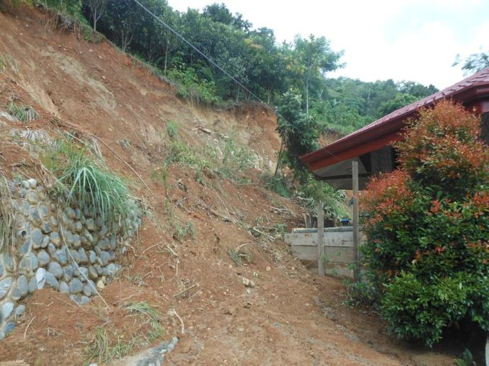 layog country farm Landslide at the backside of the family chapel