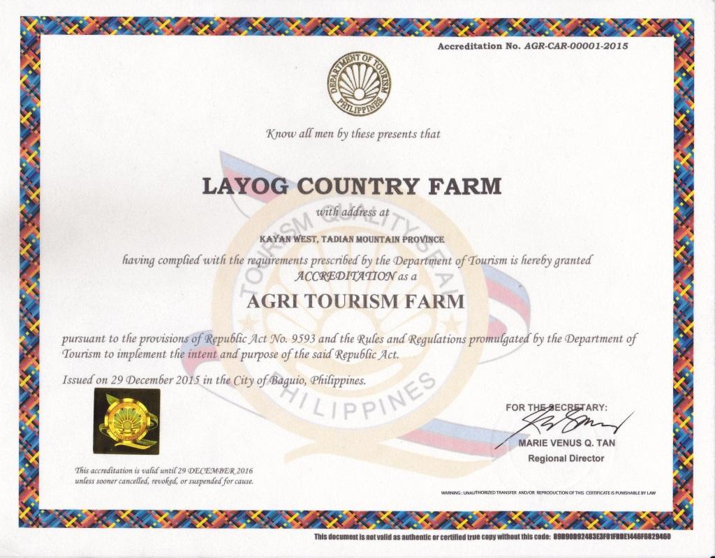 Layog Country Farm Certificate